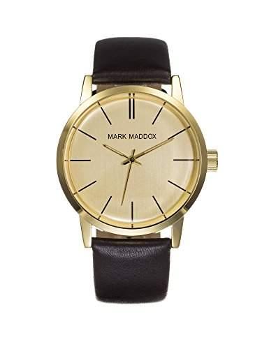 Mark Maddox Men- Armbanduhr Gold Zifferblatt Analog-Anzeige und Schwarz PU Strap HC 3009-46