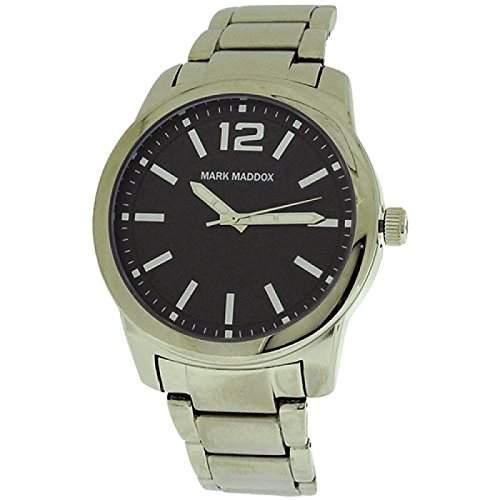 Mark Maddox Herrenuhr, schwarzes Zifferblatt und silberfarb Armband HM6006-55