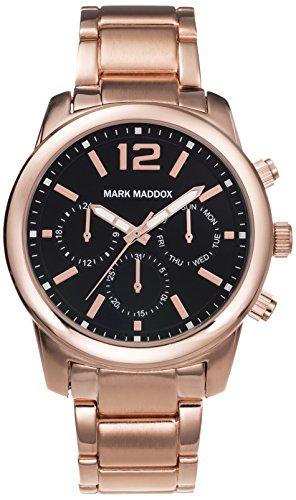 Mark Maddox Herren Quarzuhr mit schwarzem Zifferblatt Chronograph Anzeige und Rose Gold Armband hm6003 55