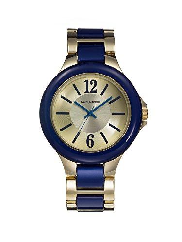 Mark Maddox Damen Quarzuhr mit Gold Zifferblatt Analog Anzeige und Blau Armband MP0002 35