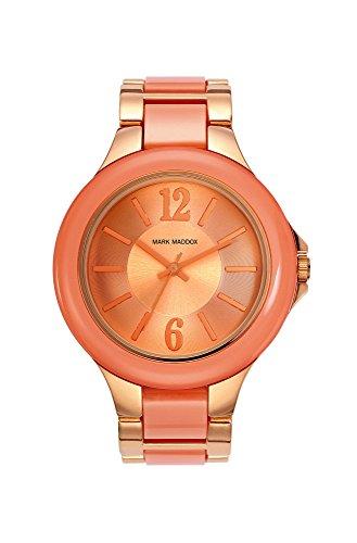 Mark Maddox Damen Quarzuhr mit Rose Gold Zifferblatt Analog Anzeige und rosa Armband MP0002 95