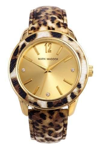 Mark Maddox Animal Print Damenuhr braun gemustertgoldfarben MC3004-95
