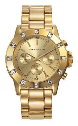 Mark Maddox Damen Quarzuhr mit Gold Zifferblatt Analog-Anzeige und Gold Armband mm3003-90