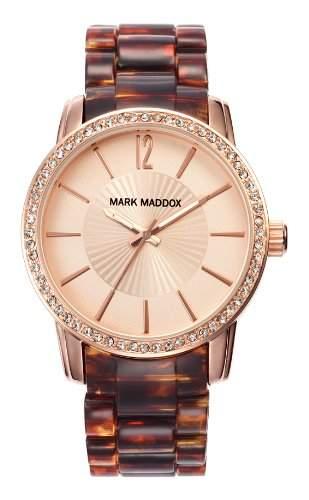 Mark Maddox Damen Quarzuhr mit Rose Gold Zifferblatt Analog-Anzeige und braunem Armband Mp3004-99
