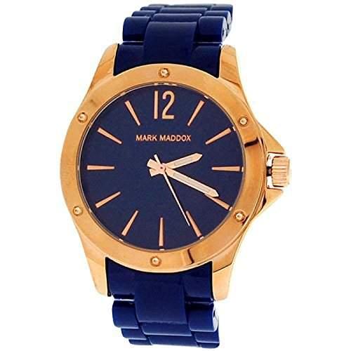 Mark Maddox Damenuhr roségoldfarbenes Gehaeuse blaues Armband MP3016-35