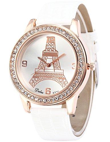 AMPM24 Weisse Leder Damen Armbanduhr Quarzuhr Mast WAA539