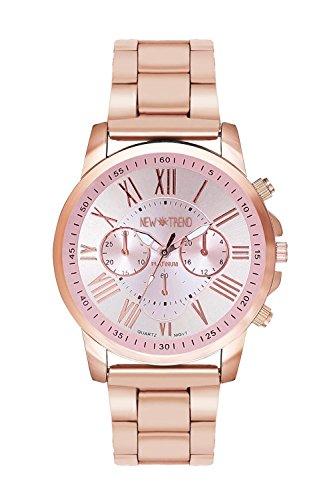New Trend Unisex Armbanduhr Analog Display Quarzwerk Edelstahl Armband Chronograph Optik mit Dornschliesse