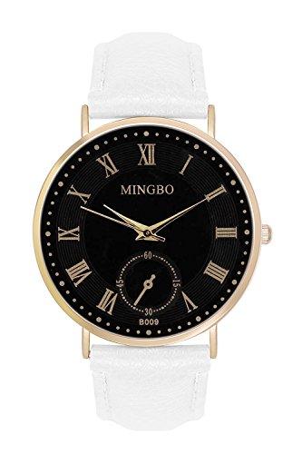 New Trend Unisex Armbanduhr Analog Display Quarzwerk Leder Armband Chronograph Optik mit Dornschliesse roemische Ziffern