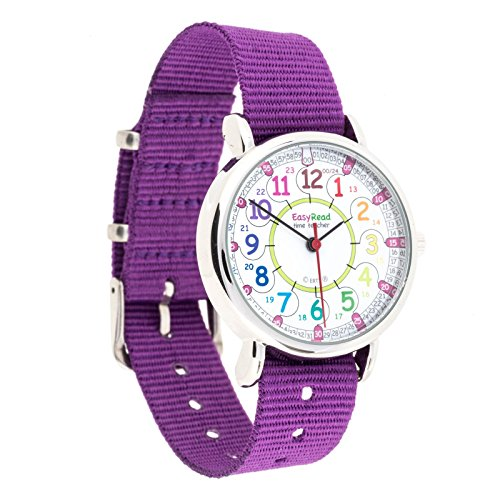 Easyread Time Teacher erw col 24 Armbanduhr Rainbow 12 24 violett 1