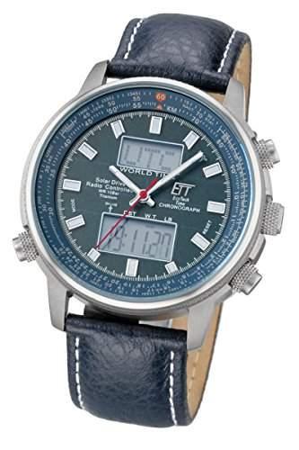 Titanuhr Herren Eco Tech Time Solar Drive Funk Titan Herren, Aviation World Timer M EGT-11128-31L Solarfunk Titan Uhr Herren