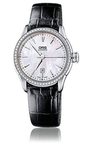 Oris Artelier Date Automatic Steel & Diamond Womens Strap Watch MOP Dial 561-7604-4956