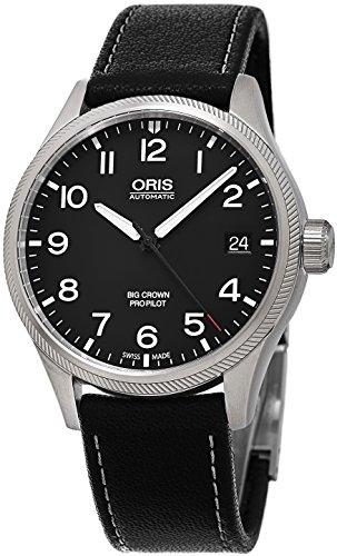 Oris Big Crown propilot Automatische schwarz Zifferblatt schwarz Leder 751 7697 4164ls