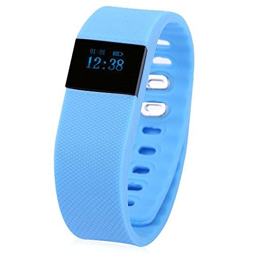 Leopard Shop tw64 Bluetooth 4 0 Smart Armband Armbanduhr IP67 SMS Reminder Schlaf Monitoring blau
