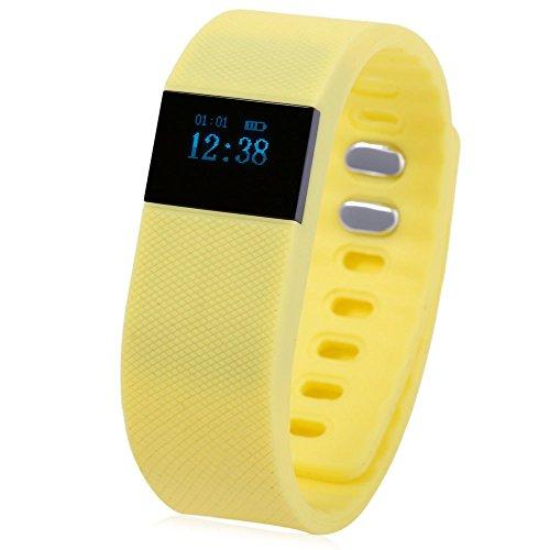 Leopard Shop tw64 Bluetooth 4 0 Smart Armband Armbanduhr IP67 SMS Reminder Schlaf Monitoring gelb