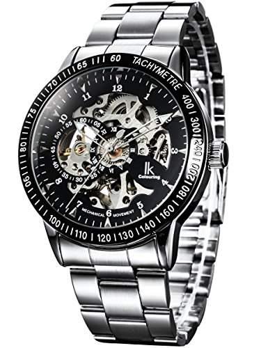 Alienwork IK mechanische Automatik Armbanduhr Skelett Automatikuhr Uhr schwarz silber Edelstahl 98226-01-R1