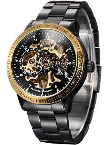 Alienwork IK mechanische Automatik Armbanduhr Skelett Automatikuhr Uhr schwarz Edelstahl 98226-06