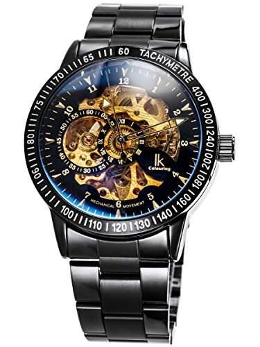 Alienwork IK mechanische Automatik Armbanduhr Skelett schwarz 98226-12
