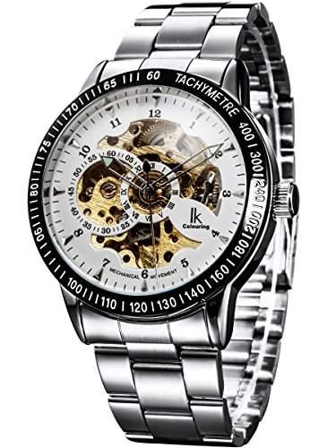 Alienwork IK mechanische Automatik Armbanduhr Skelett Automatikuhr Uhr weiss silber Edelstahl 98226-13