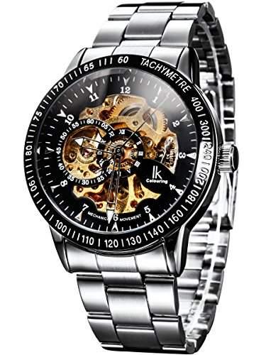 Alienwork IK mechanische Automatik Armbanduhr Skelett Automatikuhr Uhr schwarz silber Edelstahl 98226-14