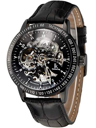 Alienwork IK mechanische Automatik Armbanduhr Skelett Automatikuhr Uhr schwarz Leder 98226-16