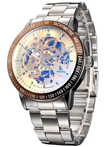 Alienwork IK mechanische Automatik Armbanduhr Skelett Automatikuhr Uhr gold silber Edelstahl 98226-19