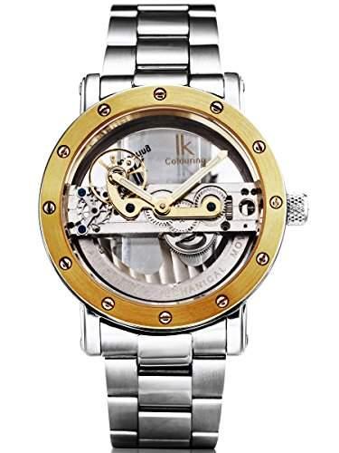 Alienwork IK mechanische Automatik Armbanduhr Skelett Automatikuhr Uhr Wasserdicht 5ATM silber Edelstahl 98393G-MS-Bb-M