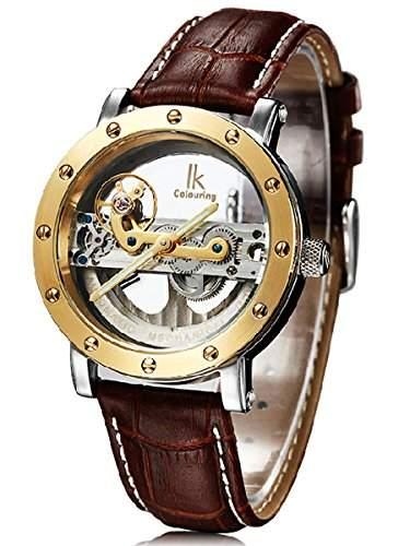 Alienwork IK mechanische Automatik Armbanduhr Skelett Automatikuhr Uhr Wasserdicht 5ATM silber braun Leder 98393G-MS-SB