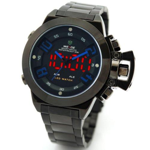 Alienwork DualTime LED Analog Multi funktion Uhr schwarz Edelstahl OS WH 1008 B 5 R1