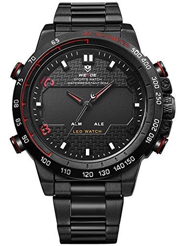 Alienwork LED Analog Digital Armbanduhr XXL Oversized Uhr Multi funktion rot schwarz Metall WD WH 6102 B 5
