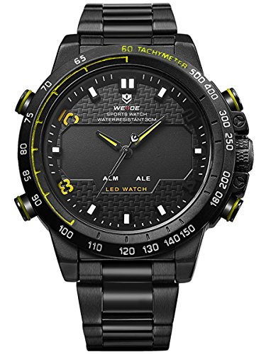 Alienwork LED Analog XXL Oversized Uhr Multi funktion gelb schwarz Metall WD WH 6102 B 6