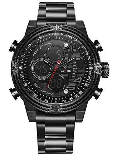 Alienwork Analog Digital Armbanduhr Chronograph LCD Uhr Multi funktion schwarz Metall WD WH 5209 B 3