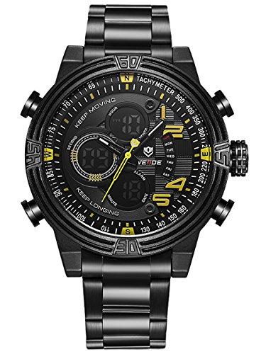 Alienwork Analog Digital Armbanduhr Chronograph LCD Uhr Multi funktion gelb schwarz Metall WD WH 5209 B 6