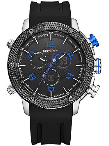 Alienwork Analog XXL Oversized LCD Uhr Multi funktion blau schwarz Polyurethan OS WH 5206J 03