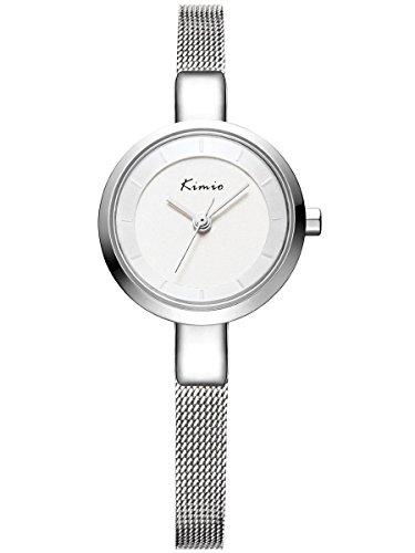 Alienwork Armreif Kette wickeln Quarzuhr Uhr elegant modisch silber Metall YH KW6115S 02