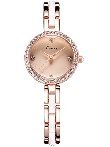 Alienwork Armreif Kette wickeln Quarzuhr Uhr Strass elegant rose gold Metall YH KW6146S 04