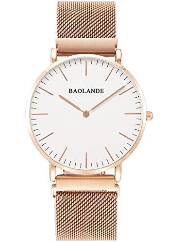 Alienwork Classic St Mawes elegant Quarzuhr Uhr Einzigartige Magnet Verschluss Milanaise Armband weiss rose gold Metall U04813G 03
