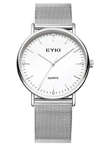 Alienwork Quarz Armbanduhr elegant Quarzuhr Uhr modisch weiss silber Metall YH EET2006L 02
