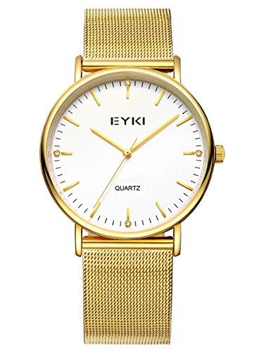 Alienwork Quarz Armbanduhr elegant Quarzuhr Uhr modisch weiss gold Metall YH EET2006L 03