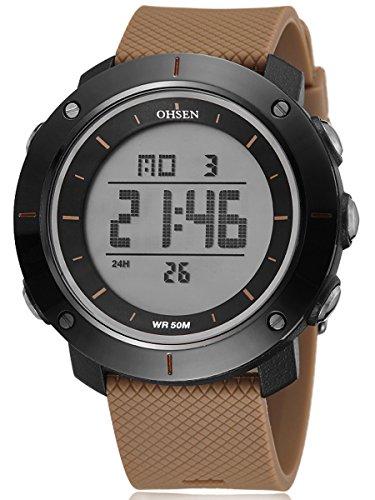 Alienwork Multi funktion Uhr Backlight schwarz braun Polyurethan OS 1611 7