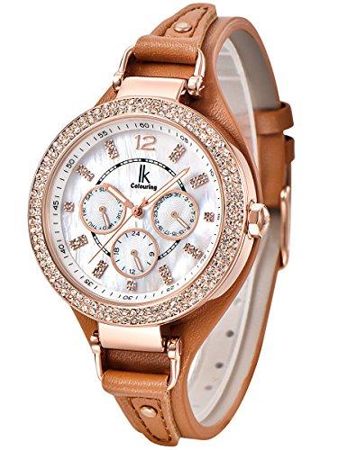 Alienwork Quarz Armbanduhr Multi funktion Quarzuhr Uhr Perlmutt Strass weiss braun Leder K002GA 06