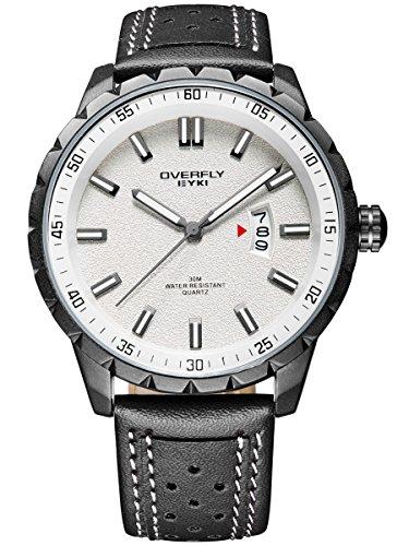 Alienwork Multi funktion Quarzuhr Uhr sport Modernes weiss schwarz Leder YH EOV3060L 01