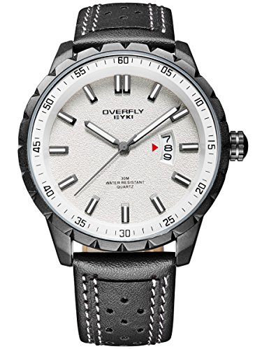 Alienwork Quarz Armbanduhr Multi funktion Quarzuhr Uhr sport Modernes weiss schwarz Leder YH EOV3060L 01