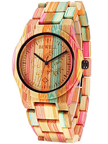 Alienwork natuerliche Bambus Quarzuhr Uhr handgefertigt Mehrfarbig Bambus UM105DG 02
