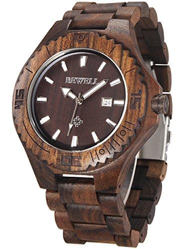 Alienwork massive Naturholz Quarzuhr Uhr handgefertigt schwarz Schwarzes Sandelholz UM020C 02