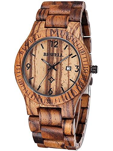 Alienwork massive Naturholz Quarzuhr Uhr handgefertigt braun Zebraholz UM086B 02