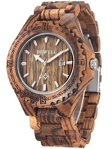 Alienwork massive Naturholz Quarzuhr Uhr handgefertigt braun Zebraholz UM023A 02
