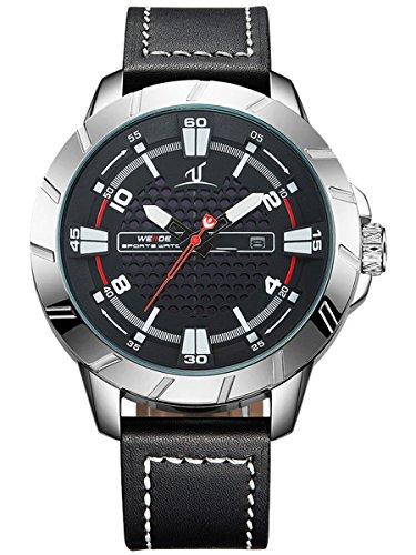 Alienwork XXL Oversized Quarzuhr Uhr sport schwarz Leder WD UV1608 1