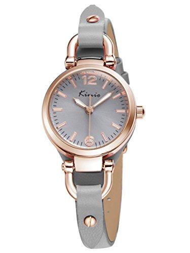 Alienwork Armreif Kette wickeln Quarzuhr Uhr vintage Rosegold grau Leder YH KW545G 04