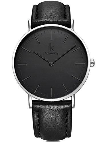 Alienwork IK Quarz Armbanduhr elegant Quarzuhr Uhr modisch Zeitloses Design klassisch silber schwarz Leder 98469G 01
