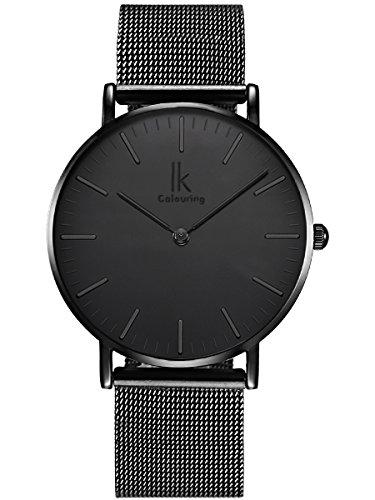 Alienwork Quarz Armbanduhr elegant Quarzuhr Uhr modisch Zeitloses Design klassisch schwarz Metall 98469G L 01
